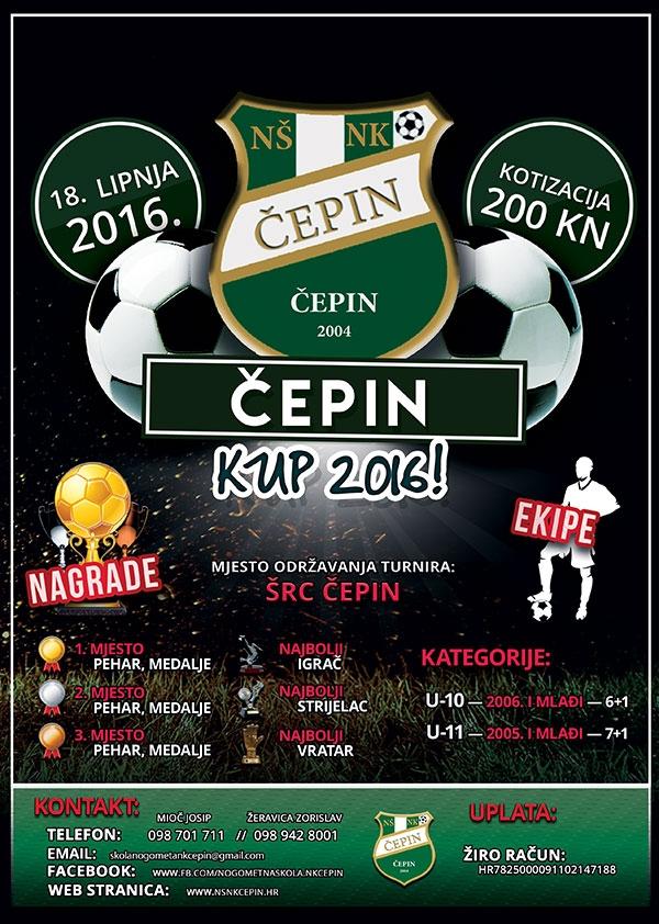 <p>Turnir će se održati na ŠRC Čepin u Čepinu u subotu 18. lipnja 2016. godine. Turnir će se igrati na 4 terena. Na turniru će nastupiti 28 ekipa u 2 kategorije sa cca 400 djece. U kategoriji 'početnici u-11' (za djecu 2005. godište i mlađi) ovo će biti sedmi turnir po redu te će na njemu nastupiti 16 ekipa podijeljenih u 4 grupe, dok će za kategoriju 'pretpočetnika u-10' ovo biti treći turnir u nizu (za djecu 2006. godište i mlađi), a na njemu će nastupiti 12 ekipa podijeljenih u 3 grupe.</p>