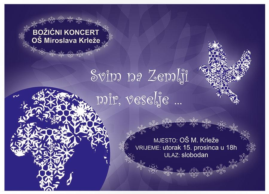 <p>I ove godine učenici i učitelji OŠ Miroslava Krleže pripremaju Božićni koncert. Program pod nazivom <em><strong>Svim na zemlji mir,</strong></em> veselje održat će se u školi u utorak 15. prosinca 2015. godine s početkom u 18h.</p>