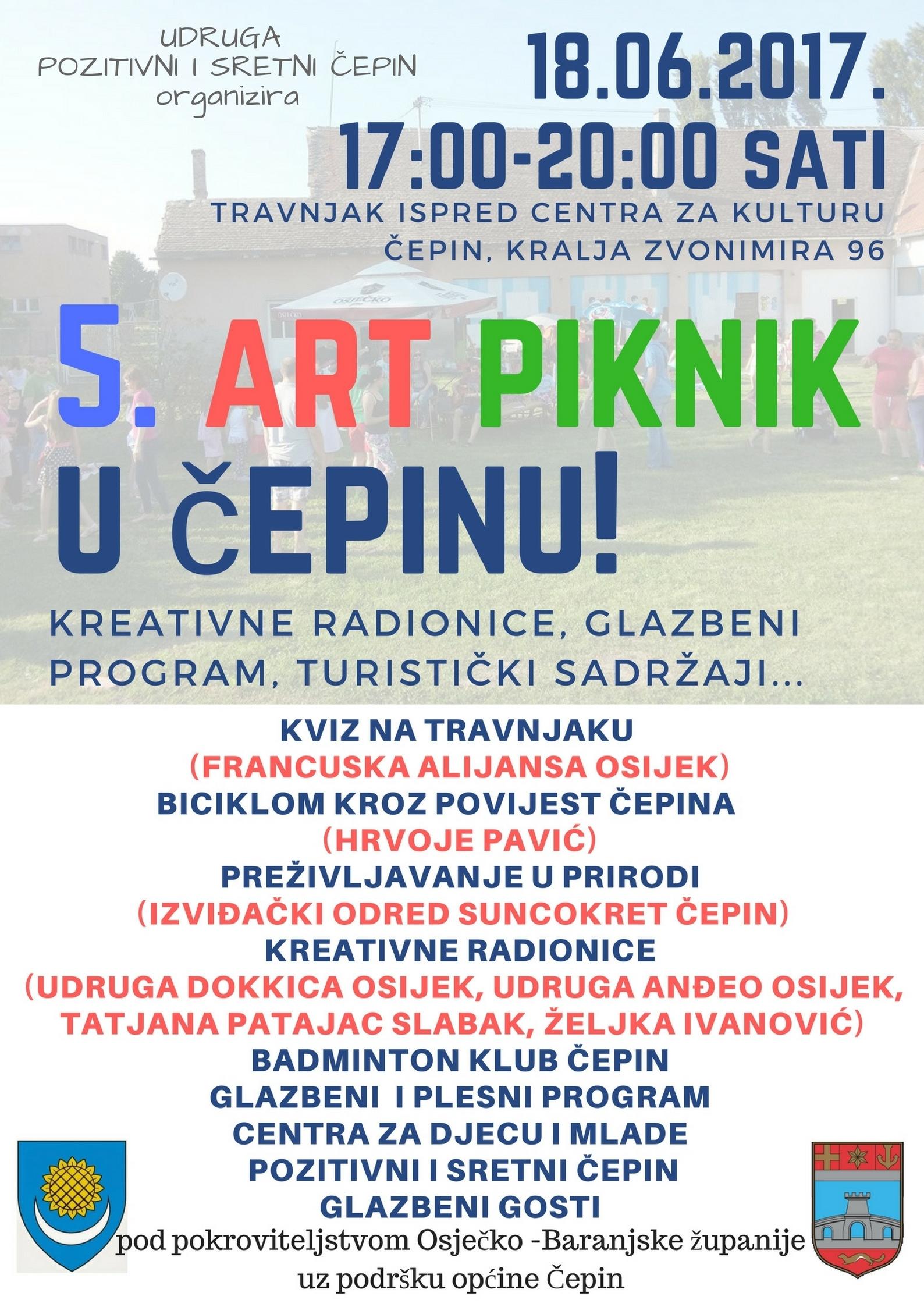 <p>Udruga Pozitivni i sretni Čepin u nedjelju 18.6.2017. s početkom u 17 sati organizira sada već tradicionalni 5. po redu Art Piknik, na travnjaku ispred Centra za kulturu Čepin, Kralja Zvonimira 96.</p>