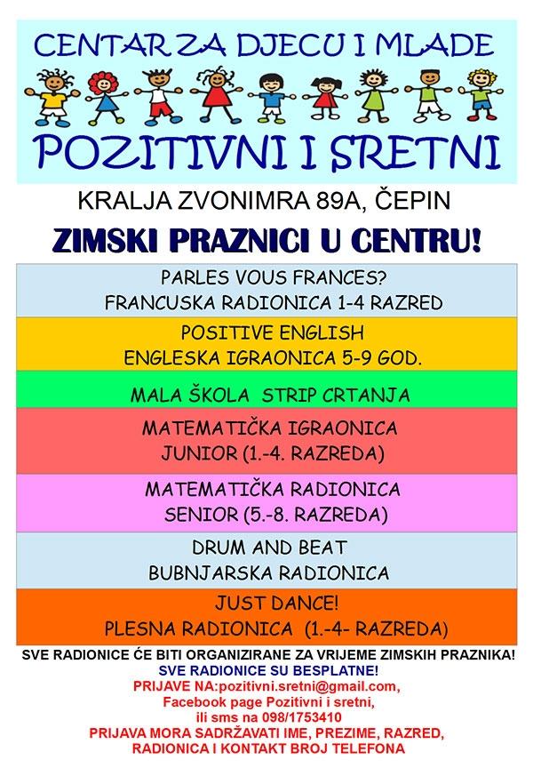 <p>Centar za djecu i mlade PIS Čepin za vrijeme zimskih praznika organizira zanimljive radionice za djecu svih uzrasta.</p>