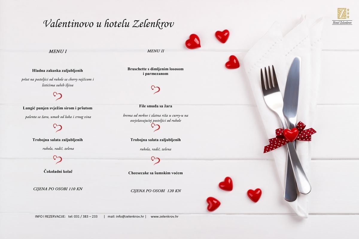 <p>Proslavite Valentinovo sa svojom boljom polovicom u Zelenkrovu. Za vas su pripremili samo najfinnija jela u kojima ćete uživati u ugodnoj atmosferi restorana Zelenkrov.</p>