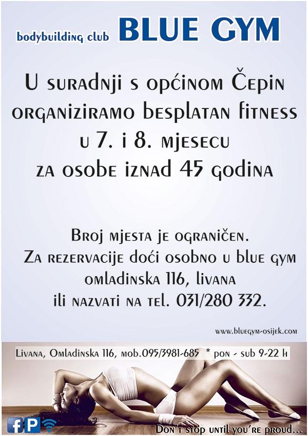 <p>Općina Čepin u suradnji s udrugom Body Building Klub BLUE GYM organizira Program BUDIMO U ZDRAVOJ KONDICIJI namijenjen osobama starijim od 45 godina.</p>
