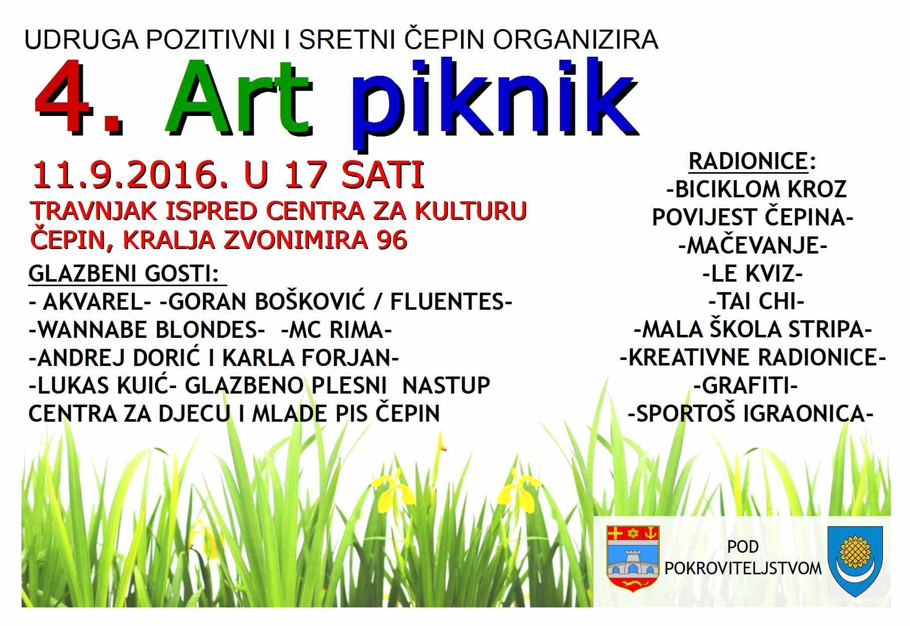 <p>11.9.2016. s početkom u 17 sati Udruga Pozitivni i sretni Čepin organizira sada već tradicionalni 4. po redu Art piknik, na travnjaku ispred Centra za kulturu Čepin, Kralja Zvonimira 96.</p>