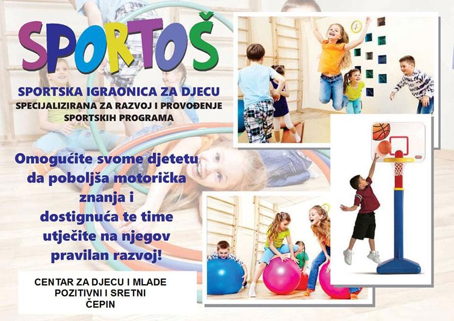 <p>Centar za djecu i mlade Pozitivni i sretni Čepin, Kralja Zvonimira 89a u Čepinu, u svom prostoru pokreće sportsku integriranu igraonicu 'SPORTOŠ', koja pod tim nazivom i konceptom djeluje u Osijeku.</p>