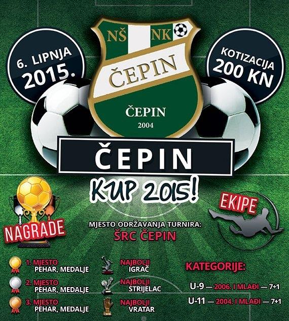 <p>Nogometni turnir Čepin kup 2015. godine održat će se na Športskom rekreacijskom centru Čepin (stadion NK Čepina) u subotu 6. lipnja 2015. godine.</p>