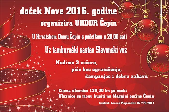 <p>UHDDR čepin poziva sve mještane općine Čepin na doček Nove 2016. godine!</p>