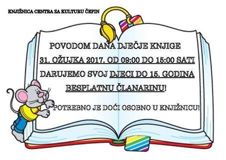 """<p><strong>Međunarodni dan dječje knjige</strong> (ICBD – International Children's Book Day) obilježava se svake godine kako bi se istaknula važnost dječje knjige te potaknula i razvila ljubav prema čitanju. Kao datum obilježavanja izabran je rođendan Hansa Christiana Andersena – <strong>2. travnja</strong>. Prilika je to i za obilježavanje <strong>četvrte obljetnice nacionalne kampanje za poticanje čitanja naglas djeci od rođenja """"Čitaj mi!"""" u koju je uključena i naša Knjižnica</strong>.</p> <p>Kako je 2. travnja u nedjelju, aktivnosti prebacujemo na <strong>petak, 31. ožujka</strong>. Jedna od aktivnosti je <strong>akcija besplatnog upisa u Knjižnicu za svu djecu do 15. godine starosti u vremenu od 9:00 do 15:00 sati.</strong> Molimo djecu da osobno dođu u Knjižnicu!</p>"""